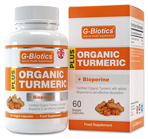 G-Biotics Certified Organic Turmeric Curcumin Capsules with added Bioperine (Black Pepper) Supplement - ON SALE NOW! by G-Biotics