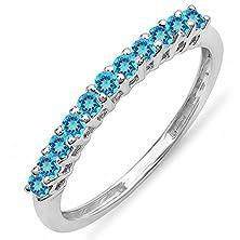 buy 0.33 Carat (Ctw) 10K White Gold Round Blue Topaz Anniversary Wedding Band 1/3 Ct (Size 7.5)