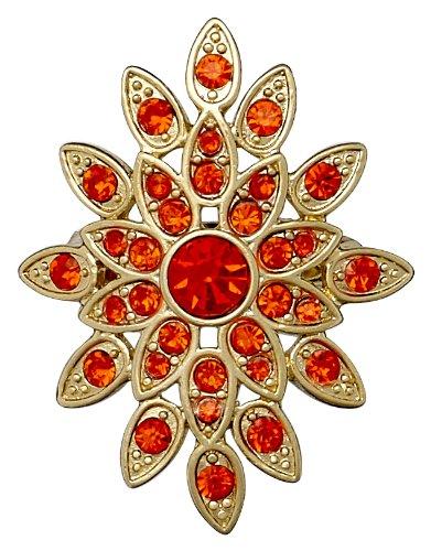 Pilgrim Jewelry Damen-Ring Messing aus der Serie vergoldet,orange 3.4 cm Gr. 53 (16.9) 331322324