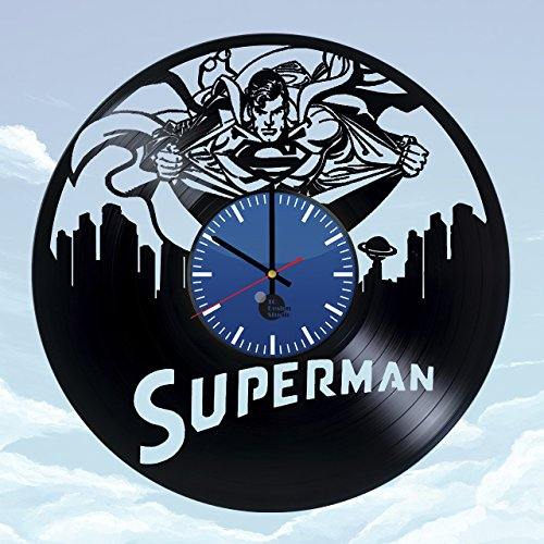 Adventures-of-Superman-HANDMADE-Vinyl-Record-Wall-Clock-Get-unique-home-room-wall-decor-Gift-ideas-for-boys-and-men-DC-COMICS-Unique-Art-Design-Leave-us-a-feedback-and-win-your-custom-clock