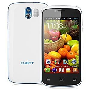 Cubot GT95 4'' Android 4.4.2 Kitkat OS Unlocked 3G Smartphone -- MTK6572 Dual Core Mobile Phone 4G ROM Dual SIM Dual Standby Dual Cameras Cellphone WIFI OTA WIFI Bluetooth Support Micro SIM Card SIM-Free 3G Moblie Phone (White)