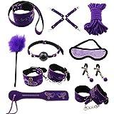 Paloqueth Sex Werkzeuge 10 Stück unter dem Bett Restraint System Slave S&M Fesseln Bondage Kit (Lila)
