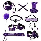 Paloqueth Classical Femdom Beginner Fetish SM Couple Connected Bed Bondage Belt Restraint System 10 Piece Set (Purple)