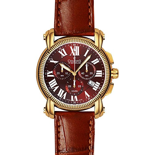 Charmex Aspen 2447 42mm Gold Plated Stainless Steel Case Brown Calfskin Synthetic Sapphire Men's Watch