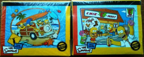 The Simpsons-puzzle Cassettes-two Boxes@50 Pieces Each-dinner W/dad and Surfari