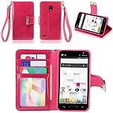 IZENGATE Executive Premium PU Leather Wallet Flip Case Cover Folio Stand for LG Optimus L9 P769 (T-Mobile & Metro PCS) (Deep Rose Pink)