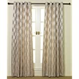 Pair Of Cream / Beige Wave Jacquard Eyelet Lined Curtains 90