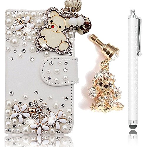 Sunroyal White Luxury 3D Fashion Handmade Bling Diamond Genuine Peral Magnet PU Flip Leather Shell Case with a Phone Chain for iPhone 5C/5/5S+Golden Teddy Anti-dust Plug+High End Business Touch Pen (5c Phone Case Gems compare prices)