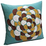 Jovi Home Flora 100-Percent Cotton Shell Embroidered and Printed Decorative Pillow 18 by 18-Inch Teal