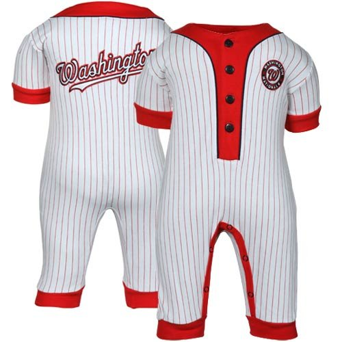 MLB Majestic Washington Nationals Infant White Pinstripe Coveralls (6-9 Months) at Amazon.com