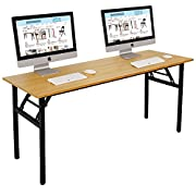 "Need Computer Desk Office Desk 63"" Folding Table with BIFMA Certification Computer Table Workstation No Install Needed, Teak"