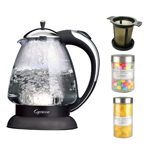 Capresso 259.03 H2O Plus 6-Cup Safety Glass Water Kettle In Polished Chrome + Brewing Basket In Black Medium Size + Accessory Kit front-533479