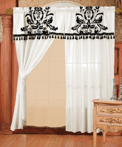 Chezmoi 2 Panel Black and White Floral Window Curtain/Drape Set with Valance-treatment Drapery