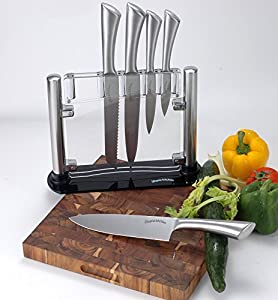 Premium Class Stainless-Steel Kitchen 6 Knife-Set with Acrylic Stand - Chef Knife, Bread Knife, Carving Knife, Paring Knife, Utility Knife - By Utopia Kitchen