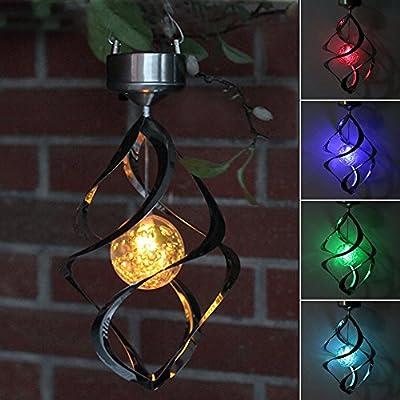 AGPtEK® Solar Power light Wind Spinner LED Light Outdoor Garden Courtyard Hanging Lamp Lawn Light