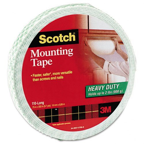 Scotch Products - Scotch - Foam Mounting Double-Sided Tape, 3/4 Wide X 350 Long - Sold As 1 Roll - Faster, Safer, More Versatile Than Screws And Nails. - Double-Sided, High-Density Foam Tape Has A Long-Lasting Adhesive For Secure Bonding. - Readily Mounts