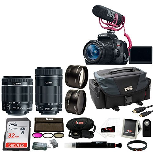 Canon EOS Rebel T6i DSLR Camera with 18-55mm Lens Video Creator Kit Bundle