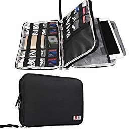 BUBM Double Layer Travel Gear Organizer / Electronics Accessories Bag / Phone Charger Case (Large, Black)