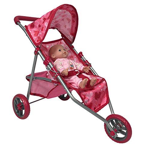 Doll Jogging Stroller - Pink Hearts Designed Jogging Stroller for 18 inch Dolls (Vintage Doll Pram compare prices)