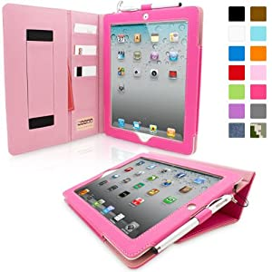 Snugg™ iPad 2 Case - Executive Smart Cover With Card Slots & Lifetime Guarantee (Hot Pink Leather) for Apple iPad 2