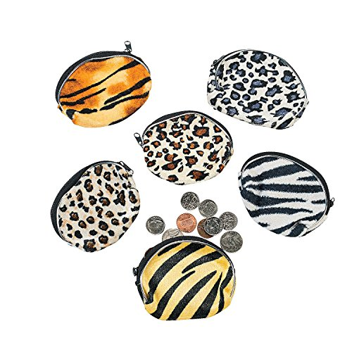 Fun Express Plush Animal Print Coin Purses (1 Dozen)