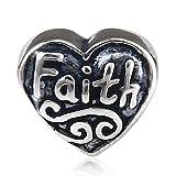 Cross Bible Faith Charm Hope Charm 925 Sterling Silver Beads Lucky Charm Christian Charm Letter Charm For DIY Charm Bracelet (Faith) (Color: Faith)
