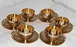 Waqeel Sahab Brass Cup & Saucer Set With 6 Cup & 6 Saucer (Embrossed)