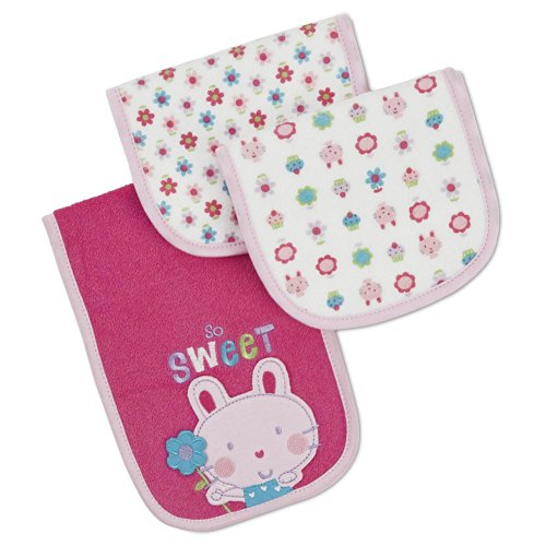 Gerber Terry Burp Cloth - 'So Sweet' - Dark Pink - 3 Pack front-441652