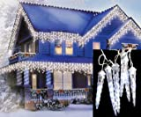 Set of 8 LED Clear White Dripping Icicle Shape Christmas Lights - White Wire