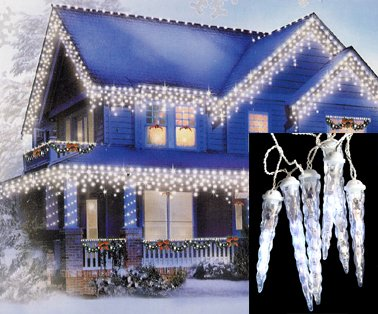 Set of 8 LED Clear White Dripping Icicle Shape