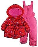 Pink Platinum Baby Girls' 3 Bows Floral Print Puffer Snowsuit Ski Bib Pant Set