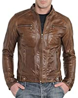 Western Leather Men's Motorcycle Leather Jacket Brown