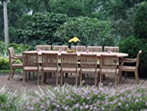 "Big Sale Giva Grade-A Teak Wood luxurious 11 pc Dining Set : Large 117"" Double Extension Oval Table, 8 Armless and 2 Arm / Captain Chairs"