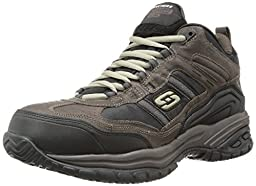 Skechers for Work Men\'s Soft Stride Canopy Composite Work Shoe,Brown/Black,9 XW US