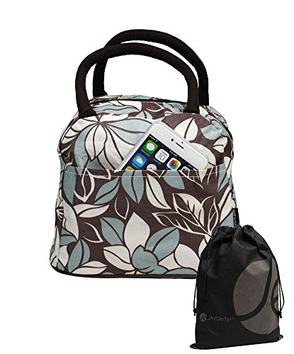 JAVOedge Brown / White / Blue Fabric Leaf Pattern Lunch Bag Tote with Zipper and Handle + Bonus Drawstring Storage Bag - 1