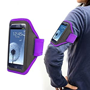 Xtra-Funky Exclusive High Quality Comfortable Universal Soft Neopreme Gym Sports Exercise Armband Holder Case With Adjustable Velcro Strap And Clear Plastic Front Shield For Most Mobile Devices (See Product Page For Compatibility List) -- PURPLE