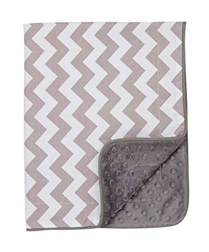 Baby Blanket in Gray & White Chevron on Gray Dimple Dot Minky - Great Travel Blanket - 1