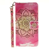 Wiko Lenny 2 Wallet Case,Wiko Lenny 2 Leather Case with Strap,Etsue Pretty Pink Flower Magnetic Closure Wallet Flip Case Cover with Stand for Wiko Lenny 2+Blue Stylus Pen+Bling Glitter Diamond Dust Plug(Colors Random)-Pink Flower