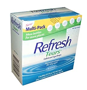 2.17 fl oz. Refresh Tears Lubricant Eye Drops, Moisture Drops for Dry Eyes. 4- .5 fl oz. bottles and 1- .17 fl oz bottle