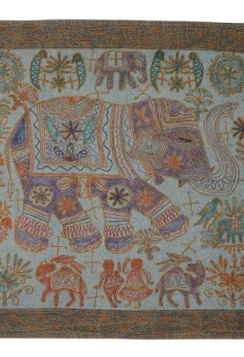 Imagen 1 de Tapiz bordado hecho a mano de la pared colgante adorna con tamaño Elephant tradicional 33 x 60 pulgadas