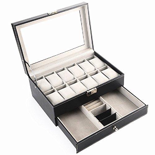 ビューティーライフ【Beauty Life®】ジュエリー& ウォッチ 腕時計 ボックス コレクション ケースレザー調  ブラック JEWELRY&WATCH-TWO
