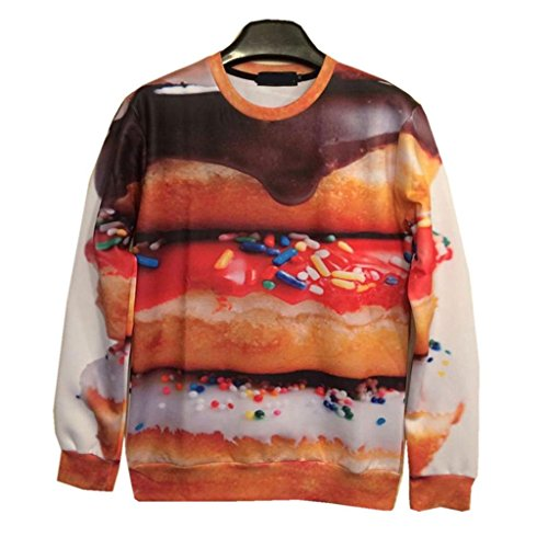 Funny Hoodies Foods Donuts 3D Sweatshirt Women Sexy Sweaters, M