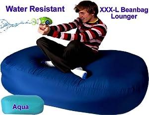 XXX-L Aqua Outdoor Beanbags HUGE 16cu FT Bean bag Lounger Great for the Garden by Beautiful Beanbags Ltd