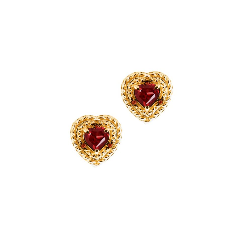 1.84 Ct Heart Shape Red Garnet and Diamond Yellow Gold Plated Silver Earrings