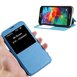 Crazy4Gadget Lines Oracle Texture Leather Case with Call Display ID & Holder for Samsung Galaxy S5 / G900(Blue)