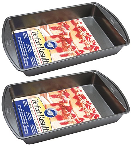 Wilton 2105-6060 Perfect Results Nonstick Oblong Cake Pan, 13 by 9 by 2-Inch, Pack of 2 Pans