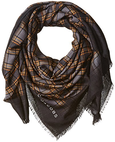 Marc-Jacobs-Womens-Blur-Check-Stole-In-Camel-Multi