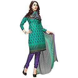 Kavyanjali Women's Blue Unstitched Cotton Dress Material