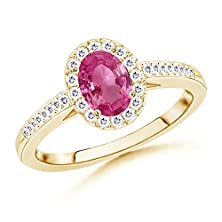 buy Oval Pink Sapphire Halo Ring With Diamond Accents In 14K Yellow Gold