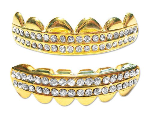 Hip Hop 14K Gold Plated Removeable Mouth Grillz Set (Top & Bottom) Rows Of Bling (Iced)